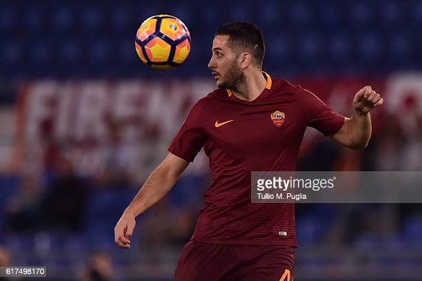 Kostas Manolas of Roma in action during the Serie A match between AS Roma and US Citta di Palermo at Stadio Olimpico on October 23 2016 in Rome Italy