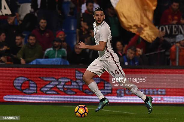 Kostas Manolas of Roma in action during the Serie A match between US Sassuolo and AS Roma at Mapei Stadium Citta' del Tricolore on October 26 2016 in...