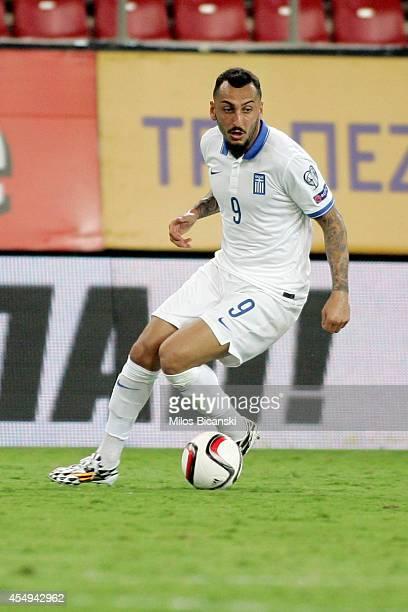 Kostas Mitroglo of Greece during the group F EURO 2016 qualifier between Greece and Romania at Georgios Karaiskakis stadium on September 7 2014 in...