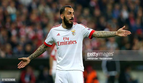 Kostas Mitroglou of Benfica reacts during the UEFA Champions League quarter final first leg match between FC Bayern Muenchen and SL Benfica at...