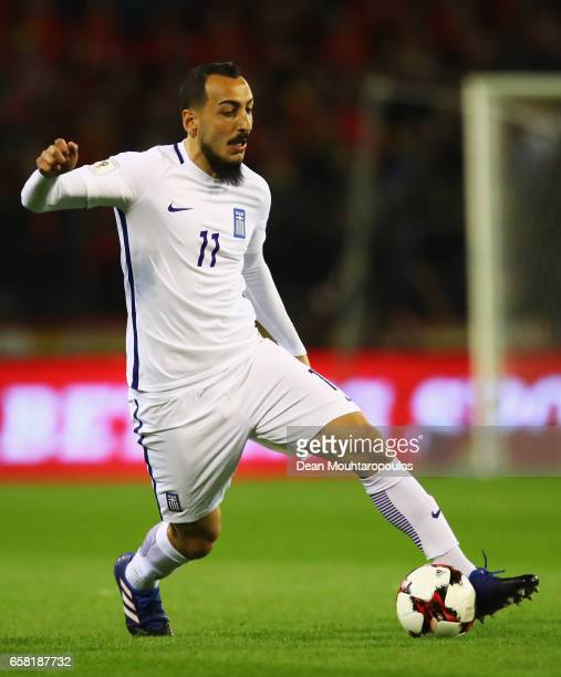 Kostas Mitroglou of Greece in action during the FIFA 2018 World Cup Group H Qualifier match between Belgium and Greece at Stade Roi Baudouis on March...