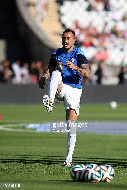 Kostas Mitroglou of Greece in action during the warm up of International Friendly between Portugal and Greece at the National Stadium on May 31 2014...