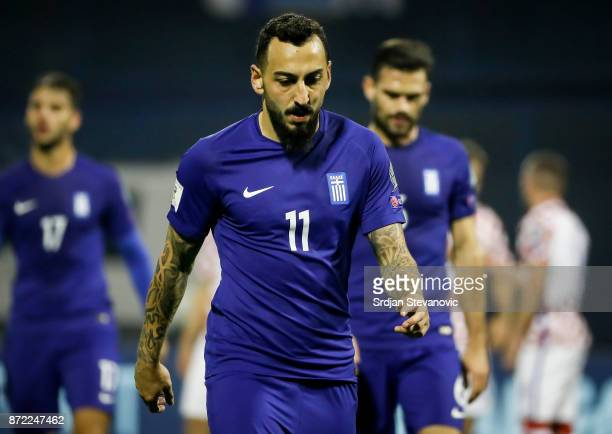 Kostas Mitroglou of Greece looks dejected after the FIFA 2018 World Cup Qualifier PlayOff First Leg match between Croatia and Greece at Stadion...