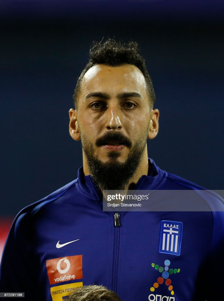 Kostas Mitroglou of Greece looks on prior the FIFA 2018 World Cup Qualifier Play-Off: First Leg between Croatia and Greece at Stadion Maksimir on November 9, 2017 in Zagreb, Croatia