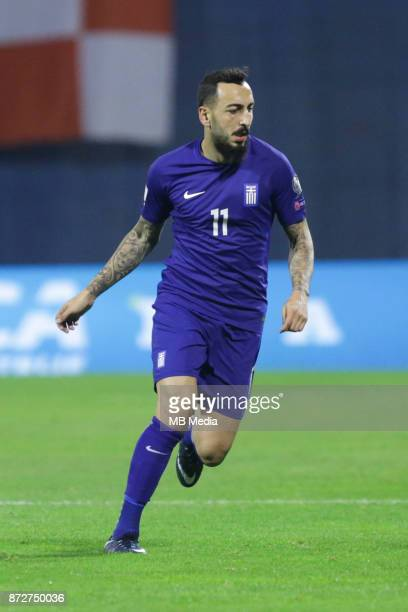 Kostas Mitroglou of Greece runs during the FIFA 2018 World Cup Qualifier playoff first leg match between Croatia and Greece at Maksimir Stadium on...