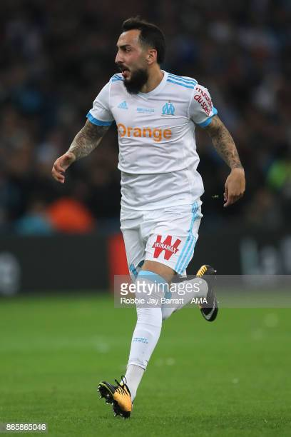 Kostas Mitroglou of Marseille during the Ligue 1 match between Olympique Marseille and Paris Saint Germain at Stade Velodrome on October 22 2017 in...