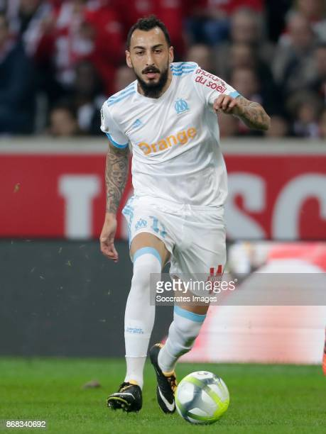 Kostas Mitroglou of Olympique Marseille during the French League 1 match between Lille v Olympique Marseille at the Stade Pierre Mauroy on October 29...