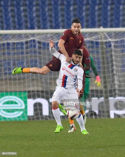 Kostas Monalas Nabil Fekir during the Europe League football match AS Roma vs Olympique Lyonnais at the Olympic Stadium in Rome on march 16 2017