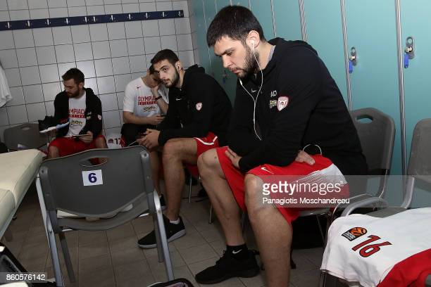 Kostas Papanikolaou #16 of Olympiacos Piraeus is concentrating at the locker rooms during the 2017/2018 Turkish Airlines EuroLeague Regular Season...
