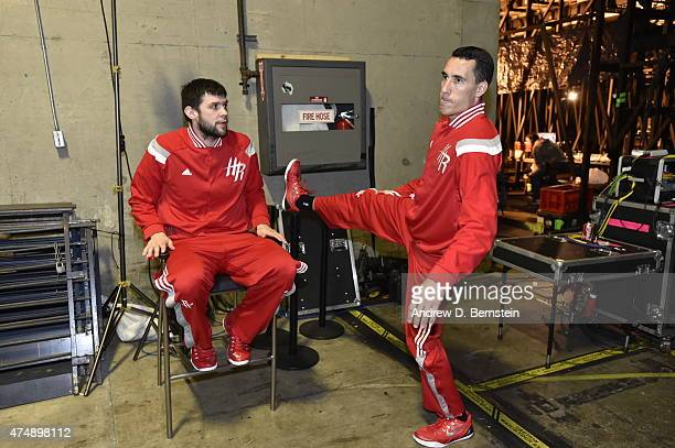 Kostas Papanikolaou and Pablo Prigioni of the Houston Rockets prepare for Game Five of the Western Conference Finals against the Golden State...