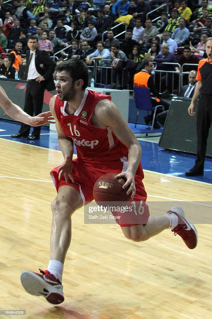 <a gi-track='captionPersonalityLinkClicked' href=/galleries/search?phrase=Kostas+Papanikolaou&family=editorial&specificpeople=5969202 ng-click='$event.stopPropagation()'>Kostas Papanikolaou</a> #16 of Olympiacos Piraeus in action during the 2012-2013 Turkish Airlines Euroleague Top 16 Date 13 between Fenerbahce Ulker Istanbul v Olympiacos Piraeus at Fenerbahce Ulker Sports Arena on March 29, 2013 in Istanbul, Turkey.