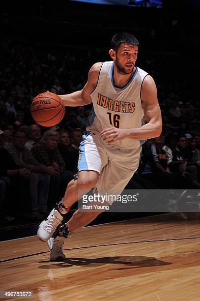 Kostas Papanikolaou of the Denver Nuggets handles the ball during the game against the Milwaukee Bucks on November 11 2015 at the Pepsi Center in...