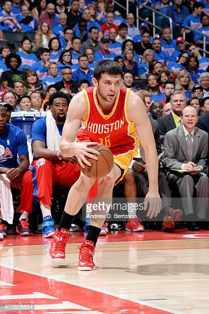 Kostas Papanikolaou of the Houston Rockets drives against the Los Angeles Clippers in Game Four of the Western Conference Semifinals during the 2015...