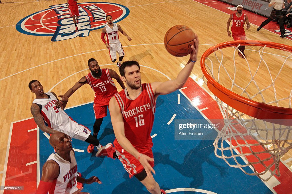 <a gi-track='captionPersonalityLinkClicked' href=/galleries/search?phrase=Kostas+Papanikolaou&family=editorial&specificpeople=5969202 ng-click='$event.stopPropagation()'>Kostas Papanikolaou</a> #16 of the Houston Rockets drives to the basket against the Detroit Pistons on January 31, 2015 at The Palace of Auburn Hills in Auburn Hills, Michigan.