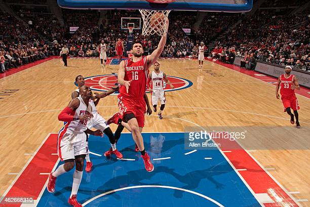 Kostas Papanikolaou of the Houston Rockets drives to the basket against the Houston Rockets on January 31 2015 at The Palace of Auburn Hills in...