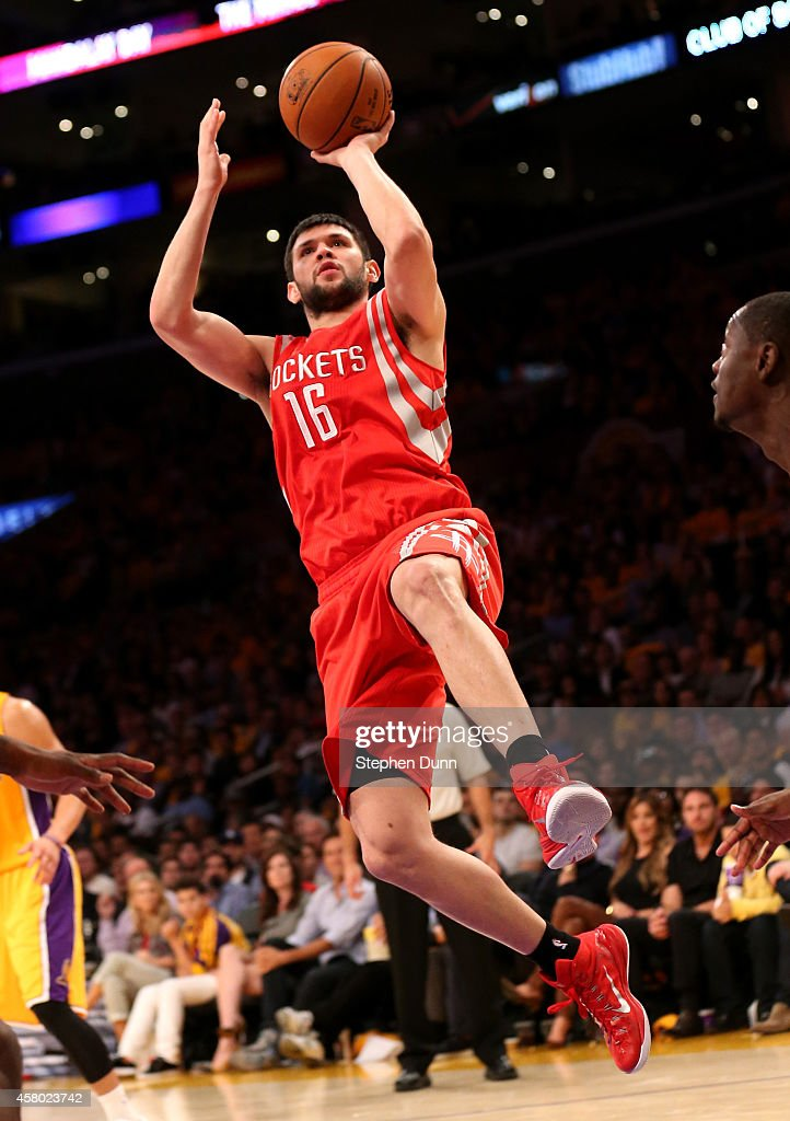 <a gi-track='captionPersonalityLinkClicked' href=/galleries/search?phrase=Kostas+Papanikolaou&family=editorial&specificpeople=5969202 ng-click='$event.stopPropagation()'>Kostas Papanikolaou</a> #16 of the Houston Rockets shoots against the Los Angeles Lakers at Staples Center on October 28, 2014 in Los Angeles, California. The Rockets won 108-90.