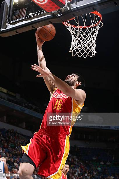 Kostas Papanikolaou of the Houston Rockets shoots the ball against the Minnesota Timberwolves during the game on December 5 2014 at Target Center in...