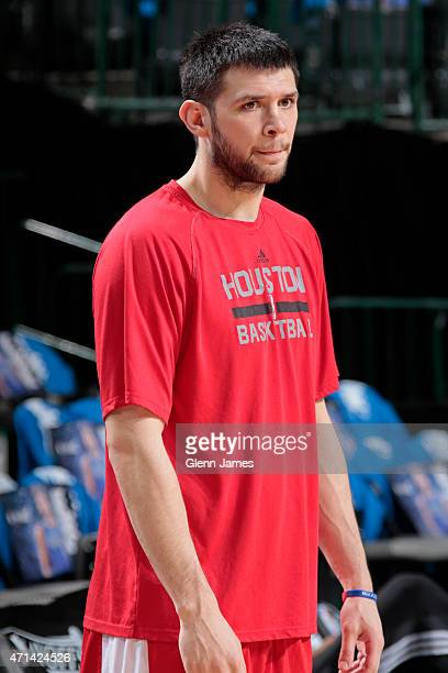 Kostas Papanikolaou of the Houston Rockets warms up before the game against the Dallas Mavericks during Game Three of the Western Conference...