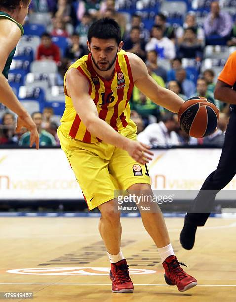 Kostas Papanikolau #16 of FC Barcelona in action during the 20132014 Turkish Airlines Euroleague Top 16 Date 11 game between Unicaja Malaga v FC...