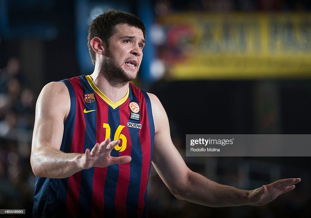 Kostas Papanikolau, #16 of FC Barcelona in action during the Turkish Airlines Euroleague Basketball Play Off Game 2 between FC Barcelona Regal v Galatasaray Liv Hospital Istanbul at Palau Blaugrana on April 17, 2014 in Barcelona, Spain.