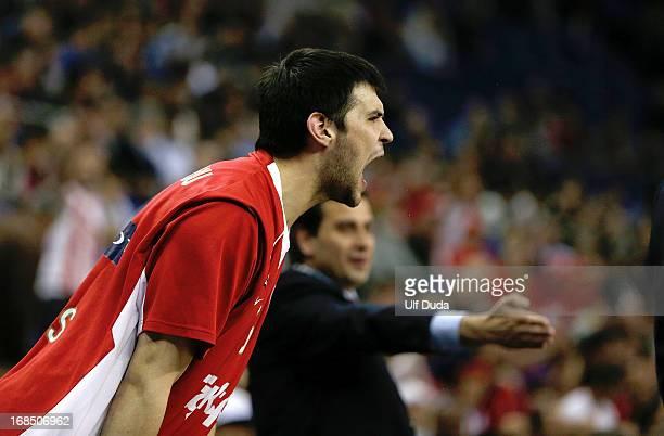Kostas Papanikolau #16 of Olympiacos Piraeus in action during the Semifinal A game between CSKA Moscow v Olympiacos Piraeus at Os Arena on May 10...