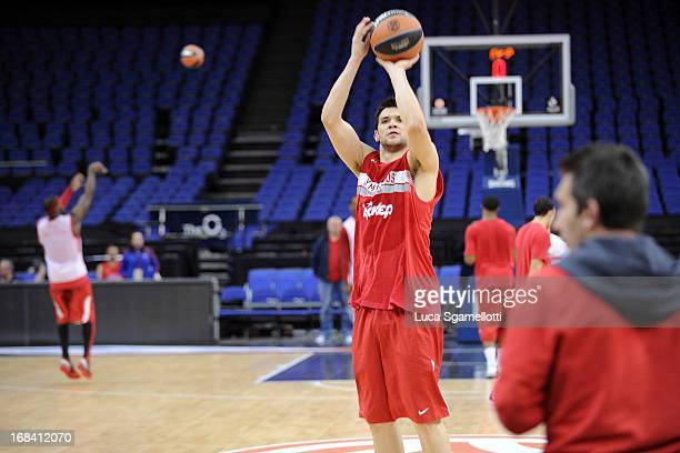 Kostas Papanikolau in action during the Olympiacos Piraeus Practice as part of Turkish Airlines Euroleague Final Four at O2 Arena on May 9 2013 in...