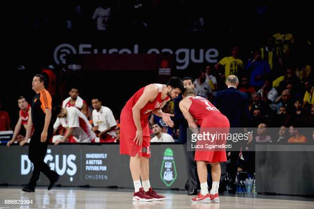Kostas Papanikolau#16 and Vassilis Spanoulis #7 of Olympiacos Piraeus talks during the Championship Game 2017 Turkish Airlines EuroLeague Final Four...