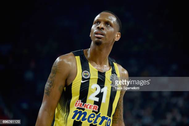 Kostas Papanikolau#16 of Olympiacos Piraeus during the Championship Game 2017 Turkish Airlines EuroLeague Final Four between Fenerbahce Istanbul v...
