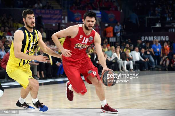 Kostas Papanikolau#16 of Olympiacos Piraeus in action during the Championship Game 2017 Turkish Airlines EuroLeague Final Four between Fenerbahce...
