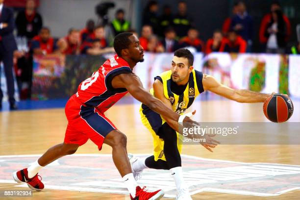 Kostas Sloukas #16 of Fenerbahce Dogus Istanbul in action during the 2017/2018 Turkish Airlines EuroLeague Regular Season game between Baskonia...