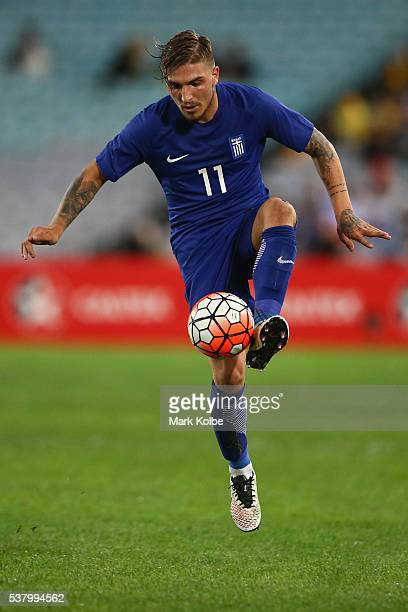 Kostas Stafylidis of Greece controls the ball during the international friendly match between the Australian Socceroos and Greece at ANZ Stadium on...