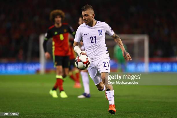 Kostas Stafylidis of Greece during the FIFA 2018 World Cup Group H Qualifier match between Belgium and Greece at Stade Roi Baudouis on March 25 2017...