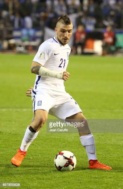 Kostas Stafylidis of Greece in action during the FIFA 2018 World Cup Qualifier between Belgium and Greece at Stade Roi Baudouin on March 25 2017 in...