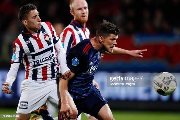 Kostas Tsimikas of Willem II Klaas Jan Huntelaar of Ajax during the Dutch Eredivisie match between Willem II v Ajax at the Koning Willem II Stadium...