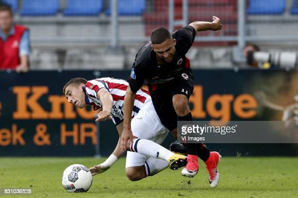 Kostas Tsimikas of Willem II Stanley Elbers of Excelsior during the Dutch Eredivisie match between Willem II Tilburg and sbv Excelsior at Koning...
