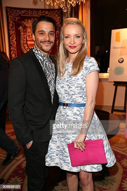 Kostja Ullmann and his fiance Janin Reinhardt during the Bunte and BMW Festival Night 2016 during the 66th Berlinale International Film Festival...