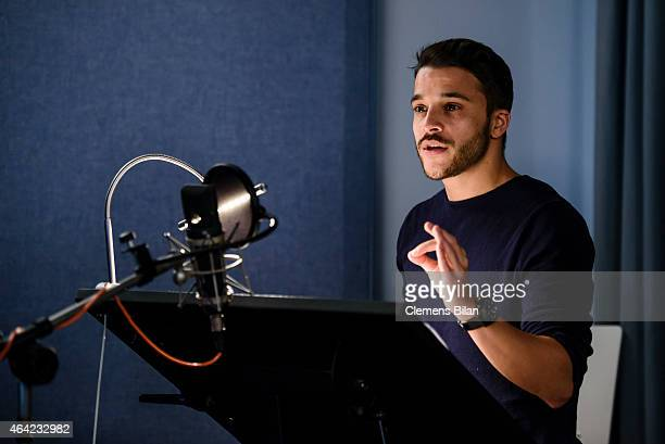 Kostja Ullmann at the dubbing studio for the Cartoon Network animation series 'Hinter der Gartenmauer' on February 19 2015 in Berlin Germany