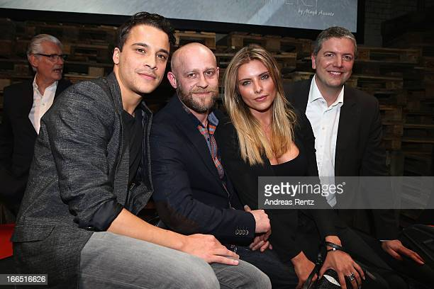 Kostja Ullmann Juergen Vogel Sophia Thomalla and Peter Modelhart of Jaguar attend the Jaguar FType short film 'The Key' Premiere at eWerk on April 13...