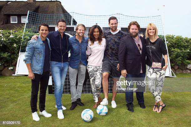 Kostja Ullmann Till Broenner Paul Janke Marie Amiere Christoph Metzelder Antoine Monot Jr and Monica Ivancan attend a store event on July 7 2017 in...
