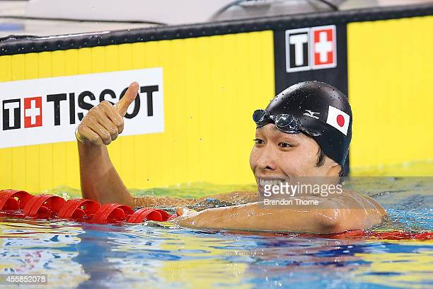 Kosuke Hagino of Japan celebrates after winning gold in the Men's 200m Freestyle during day two of the 2014 Asian Games at Munhak Park TaeHwan...