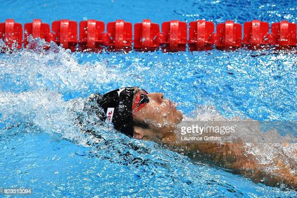 Kosuke Hagino of Japan competes during the Men's 200m Medley final on day fourteen of the Budapest 2017 FINA World Championships on July 27 2017 in...