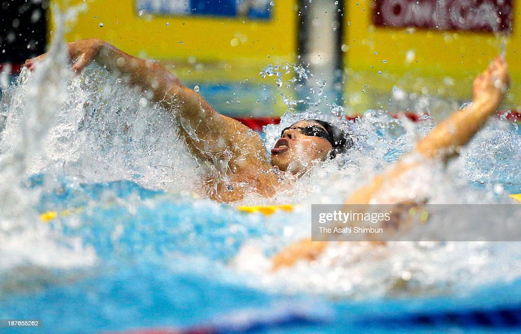 Kosuke Hagino of Japan competes in the Men's 100m Individual Medley final during day one of the FINA Swimming World Cup at Tatsumi International Swimming Pool on November 9, 2013 in Tokyo, Japan.