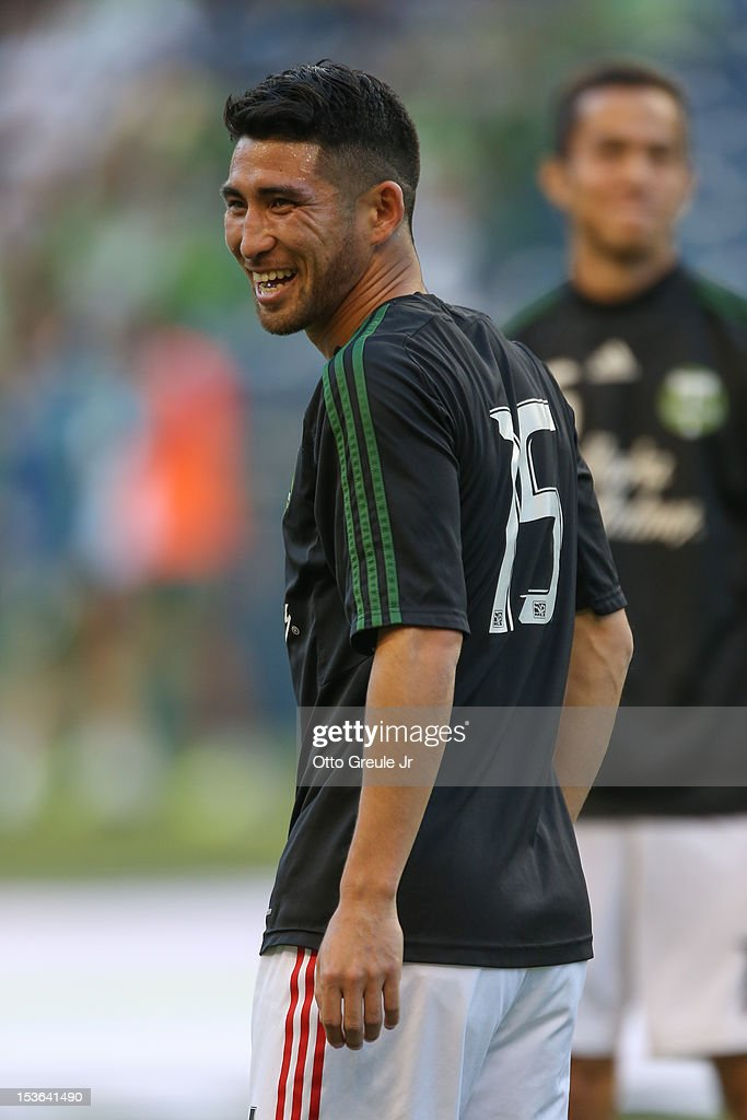 <a gi-track='captionPersonalityLinkClicked' href=/galleries/search?phrase=Kosuke+Kimura&family=editorial&specificpeople=4441829 ng-click='$event.stopPropagation()'>Kosuke Kimura</a> #15 of the Portland Timbers warms up prior to the match against the Seattle Sounders FC at CenturyLink Field on October 7, 2012 in Seattle, Washington. The Sounders defeated the Timbers 3-0.