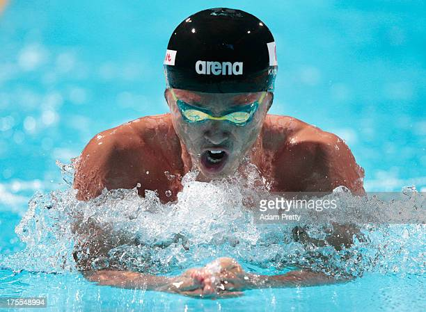 Kosuke Kitajima of Japan competes during the Swimming Men's 4x100m Medley Relay preliminaries heat one on day sixteen of the 15th FINA World...