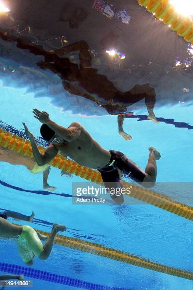 Kosuke Kitajima of Japan competes in the first semifinal heat of the Men's 100m Breaststroke on Day 1 of the London 2012 Olympic Games at the...