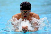Kosuke Kitajima of Japan competes in the Men's 200m Breaststroke Final at the National Aquatics Centre during Day 6 of the Beijing 2008 Olympic Games...