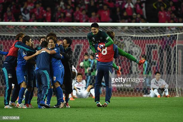 Kosuke Nakamura of Avispa Fukuoka celebrates the win during the JLeague 2 2015 Playoff Final and J 1 promotional match between Avispa Fukuoka and...