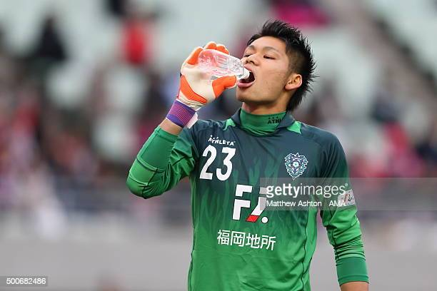 Kosuke Nakamura of Avispa Fukuoka takes a drink during the J2 Promotion Play Off Final between Avispa Fukuoka and Cerezo Osaka at Yanmar Stadium on...