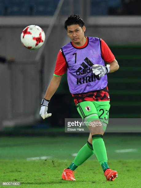 Kosuke Nakamura of Japan warms up at half time during the international friendly match between Japan and Haiti at Nissan Stadium on October 10 2017...