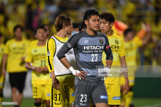 Kosuke Nakamura of Kashiwa Reysol shows his dejection after their 23 defeat in the JLeague J1 match between Kashiwa Reysol and Kashima Antlers at...